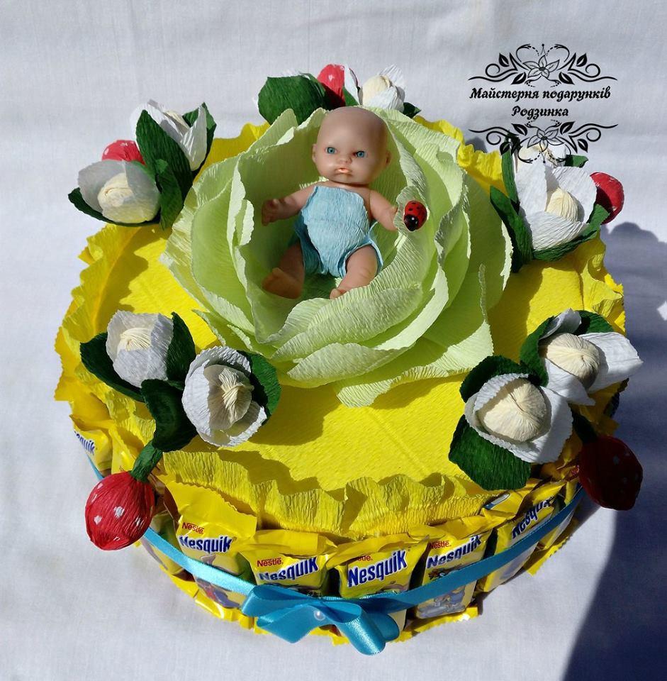 Композиція солодкий букет Тортик для новонароджених.
