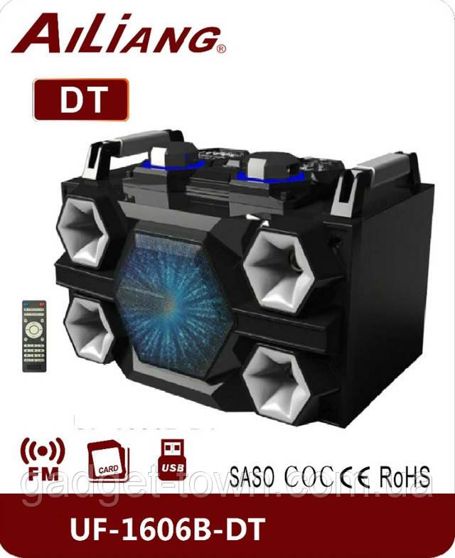 Бумбокс портативний AILIANG UF-1606B-DT колонки USB\Bluetooth\FM-тюнер\Пульт ДУ
