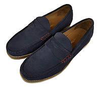 Мужские замшевые туфли лоферы ручной работы Samuel Windsor синие