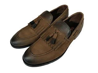 Мужские туфли лоферы с кисточками Rifellini из нубука L0002/02