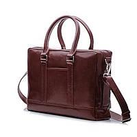 d35d655420a0 Кожаная сумка на плечо для ноутбука и документов Каштановая Solier SL02