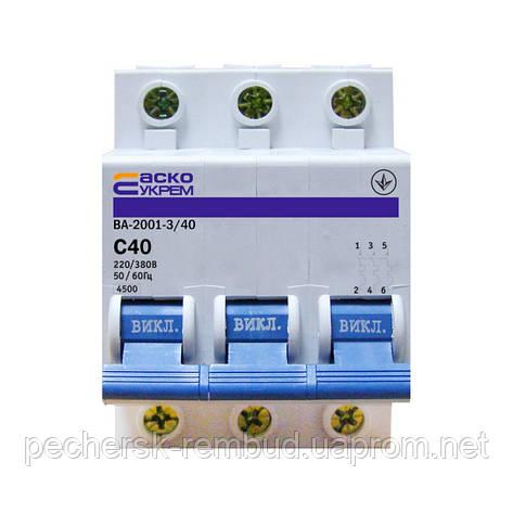 Автоматический выключатель ВА 2001 3р 40А С, фото 2