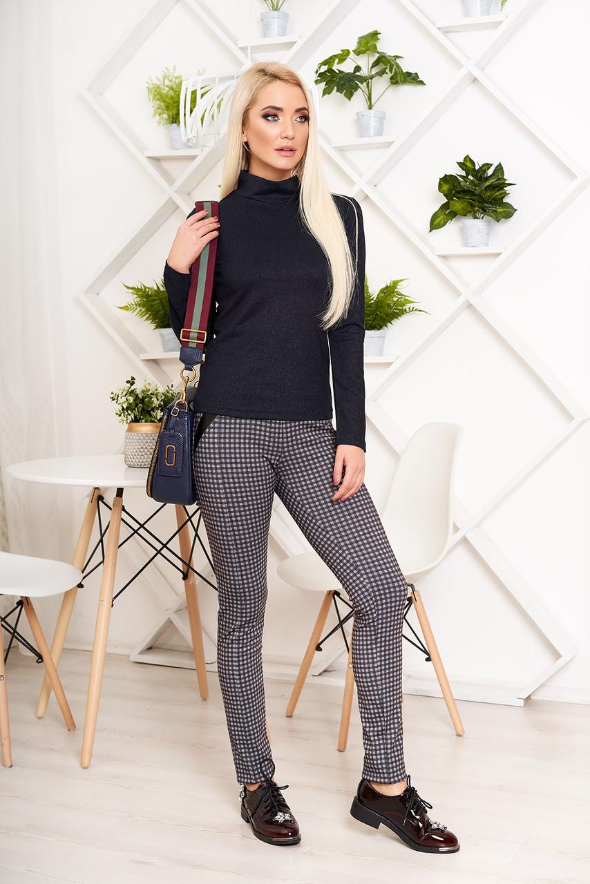 Модные женские лосины-брюки в клетку
