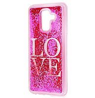 Чехол-накладка (Жидкий Блеск) Love для Samsung Galaxy A6 Plus (2018) SM-A605F Pink