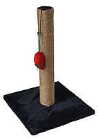 Когтеточка-столбик на подставке с игрушкой, джут, 30х30х40см