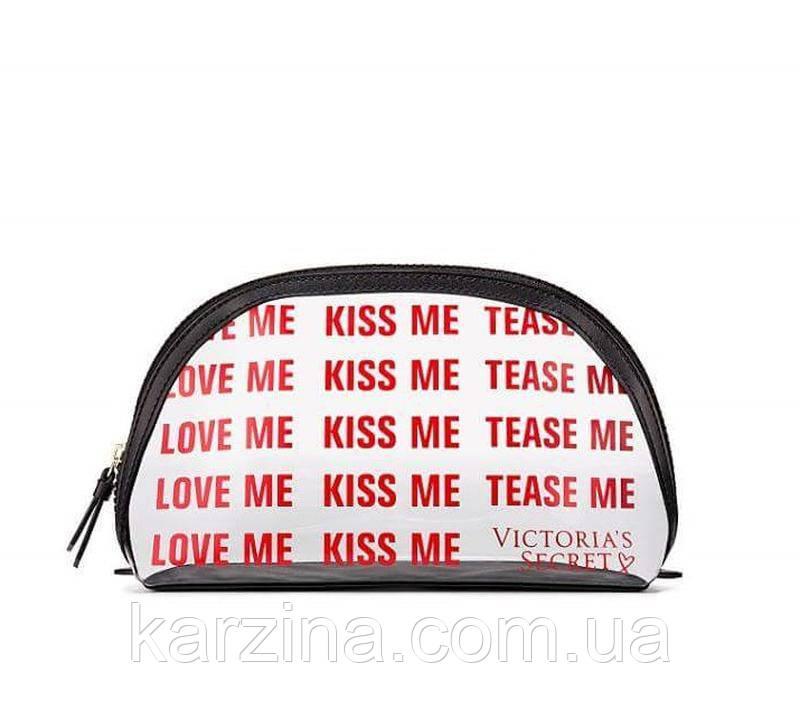 Прозрачная косметичка на молнии Victoria's Secret с принтом KISS