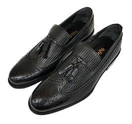 Мужские кожаные туфли лоферы Rifellini черные L0004/04