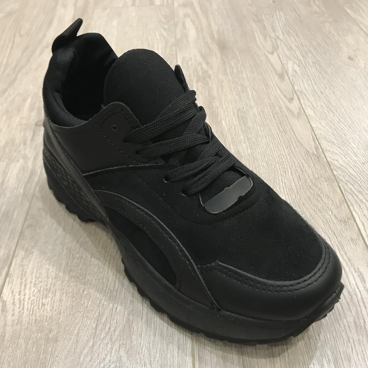 Женские кроссовки черные /