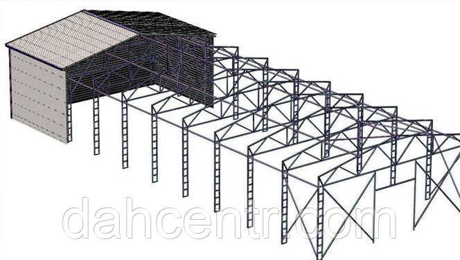 Металоконструкція 10х42х3 Ангар Двускат Склад Навіс Каркас