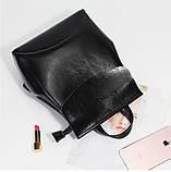 Рюкзак сумка (трансформер) женский городской кожаный  (черный), фото 4