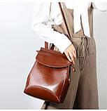 Рюкзак сумка (трансформер) женский городской кожаный  (черный), фото 6