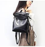 Рюкзак сумка (трансформер) женский городской кожаный  (черный), фото 2