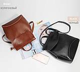 Рюкзак сумка (трансформер) женский городской кожаный  (черный), фото 5