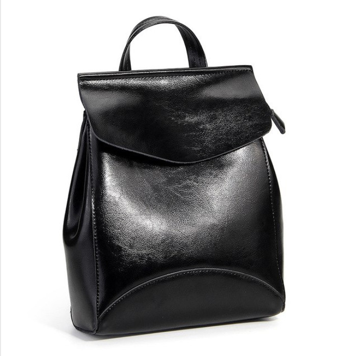 Рюкзак сумка (трансформер) женский городской кожаный  (черный)