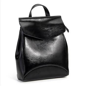 Рюкзак сумка (трансформер) міський жіночий шкіряний (чорний)