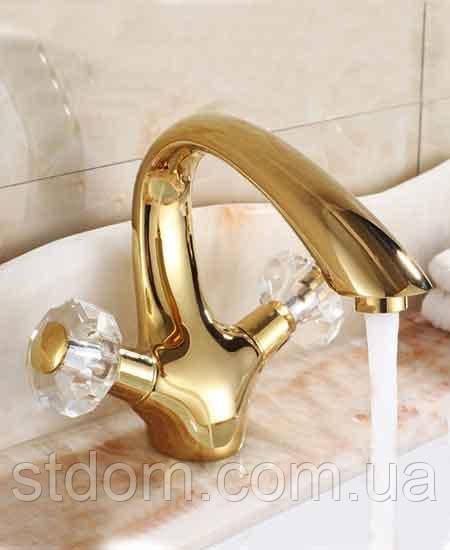 Смеситель для раковины двухвентильный Art Design Deco Cristal Gold 6104 золото