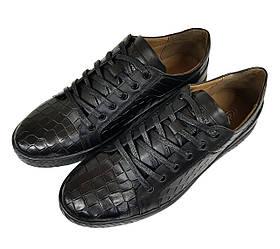 Мужские кожаные кроссовки мокасины Сevivo черные K0001/01