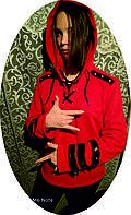 Женская Толстовка с кожанными вставками, винтажное худи, кенгуру, батник  в стиле Рок.