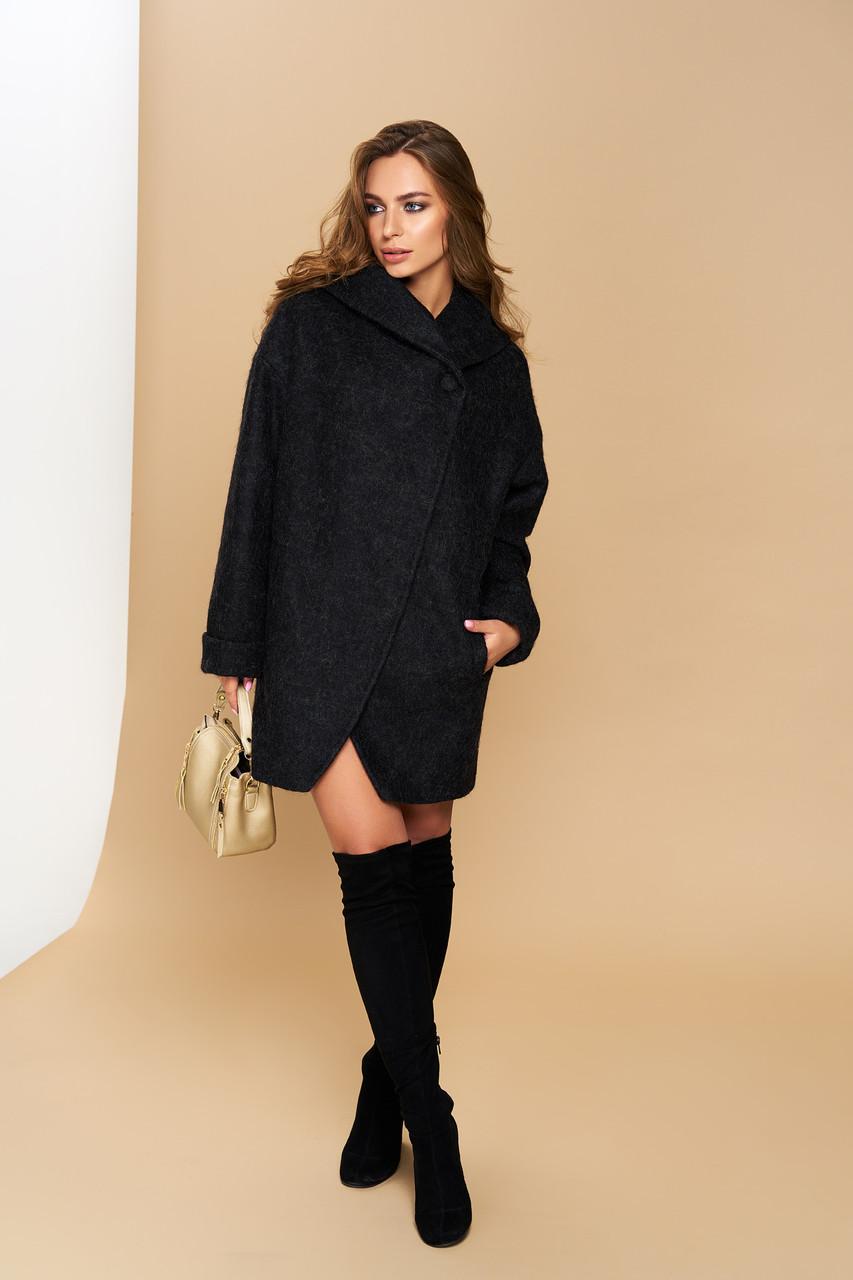 Пальто черное демисезонное шерстяное с капюшоном короткое