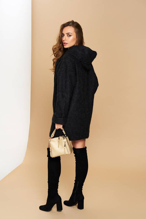 Пальто черное демисезонное шерстяное с капюшоном короткое, фото 2