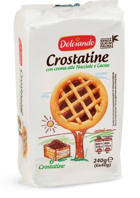 Печеньe Dolciando Crostatinecon crema all nocciole e cacao 240 g, фото 2