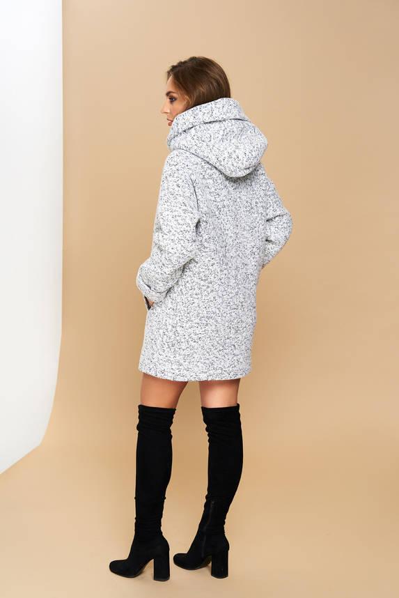 Пальто серое демисезонное шерстяное с капюшоном короткое, фото 2