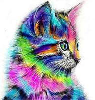Алмазная вышивка котенок радужный, 30х30 см