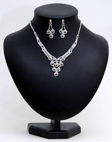 Комплект весільної біжутерії кольє і сережки HD21931