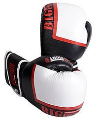Боксерские перчатки 10 OZ виниловые черно-белые BigFight