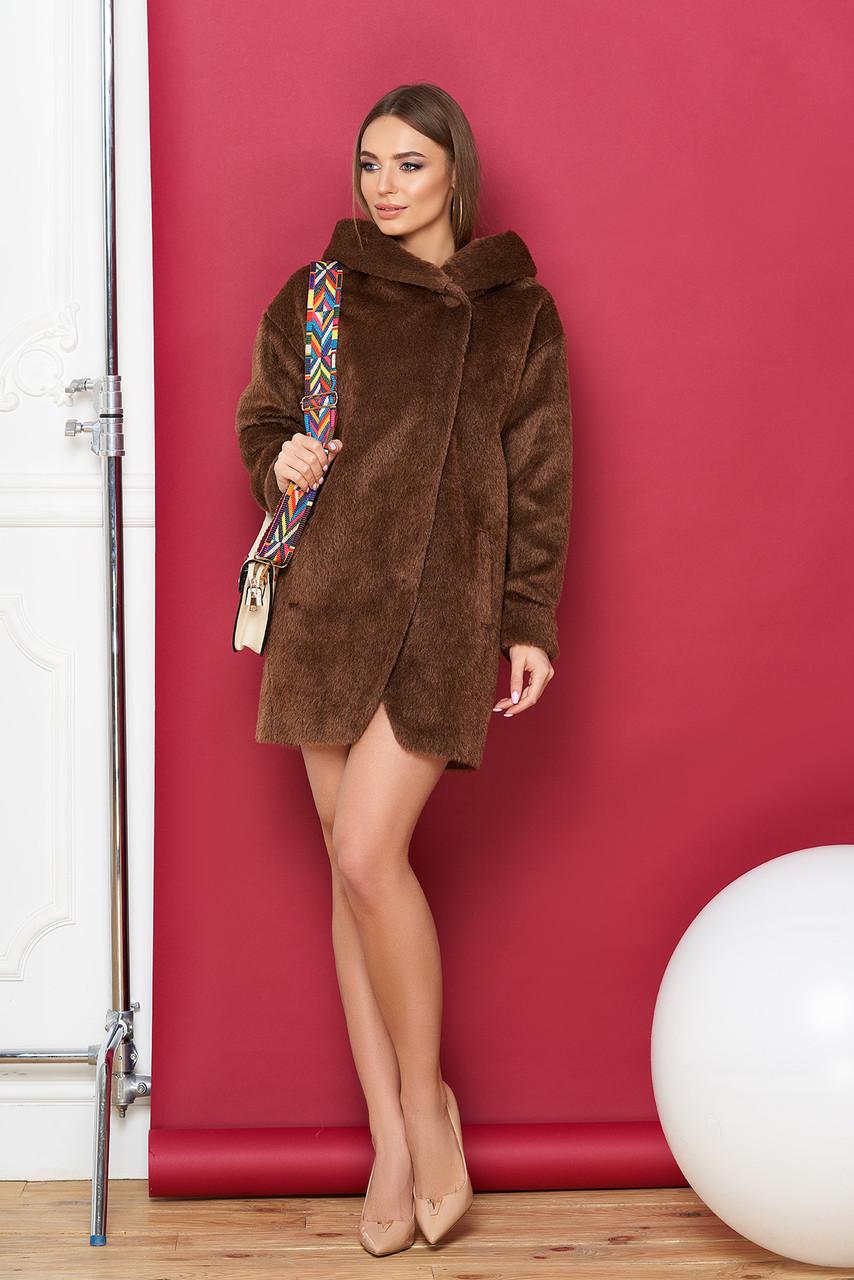 Пальто коричневое шерстяное с капюшоном короткое весна