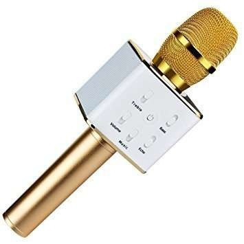 Микрофон караоке Q7 bluetooth USB, DM Karaoke Q7 GOLD золото, микрофон-караоке беспроводной с кабелем