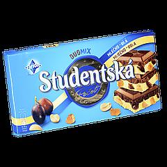 "Шоколад Studentska Duomix ""МОЛОЧНЫЙ-БЕЛЫЙ"" с арахисом и желе,180г (1ящ/15шт)"
