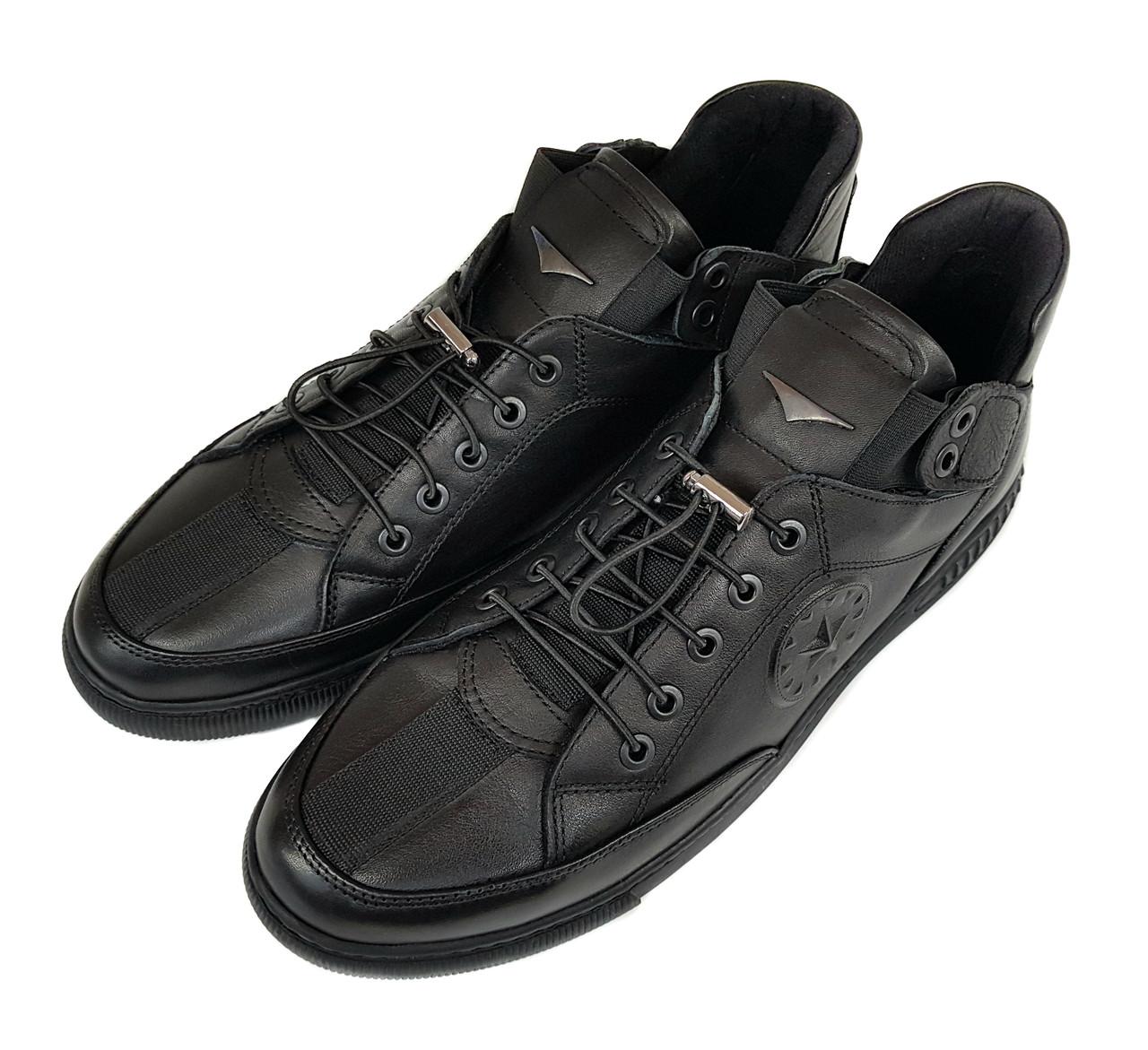 Мужские кожаные кроссовки мокасины Luciano Bellini черные K0015/15