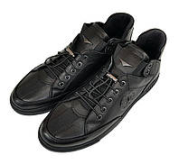 Мужские кожаные ботинки кеды Luciano Bellini черные K0015/15