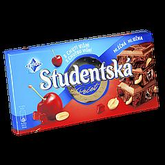 "Шоколад Studentska Mlecna Visna""ВИШНЯ"" молочный с арахисом и кусочками желе, 180г (1ящ/16шт)"