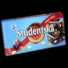 """Шоколад Studentska HORKA-HORKA """"ЧЕРНЫЙ"""" с арахисом, изюмом и цитрусовым желе,180г (1ящ/16шт)"""