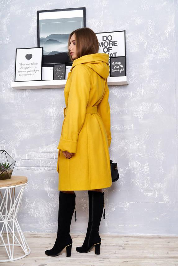 Желтое кашемировое пальто с капюшоном весна осень, фото 2