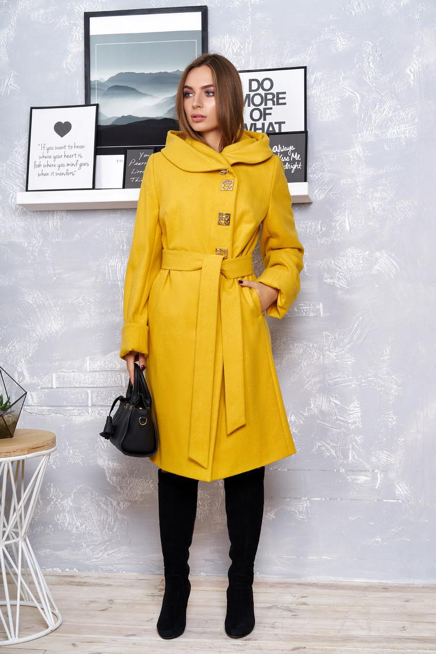 Желтое кашемировое пальто с капюшоном весна осень