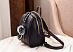 Рюкзак женский кожам Sminica с помпоном Коричневый, фото 4