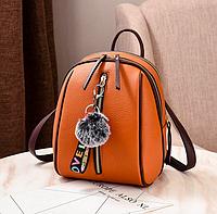 Рюкзак женский кожам Sminica с помпоном Коричневый