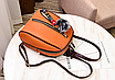Рюкзак женский кожам Sminica с помпоном Коричневый, фото 3