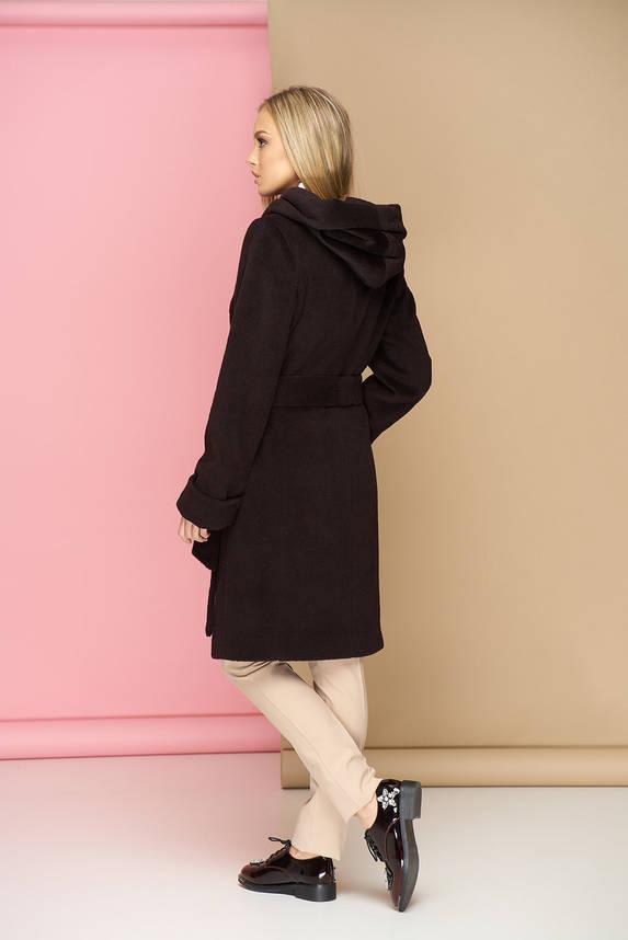 Бордовое шерстяное пальто с капюшоном демисезонное, фото 2