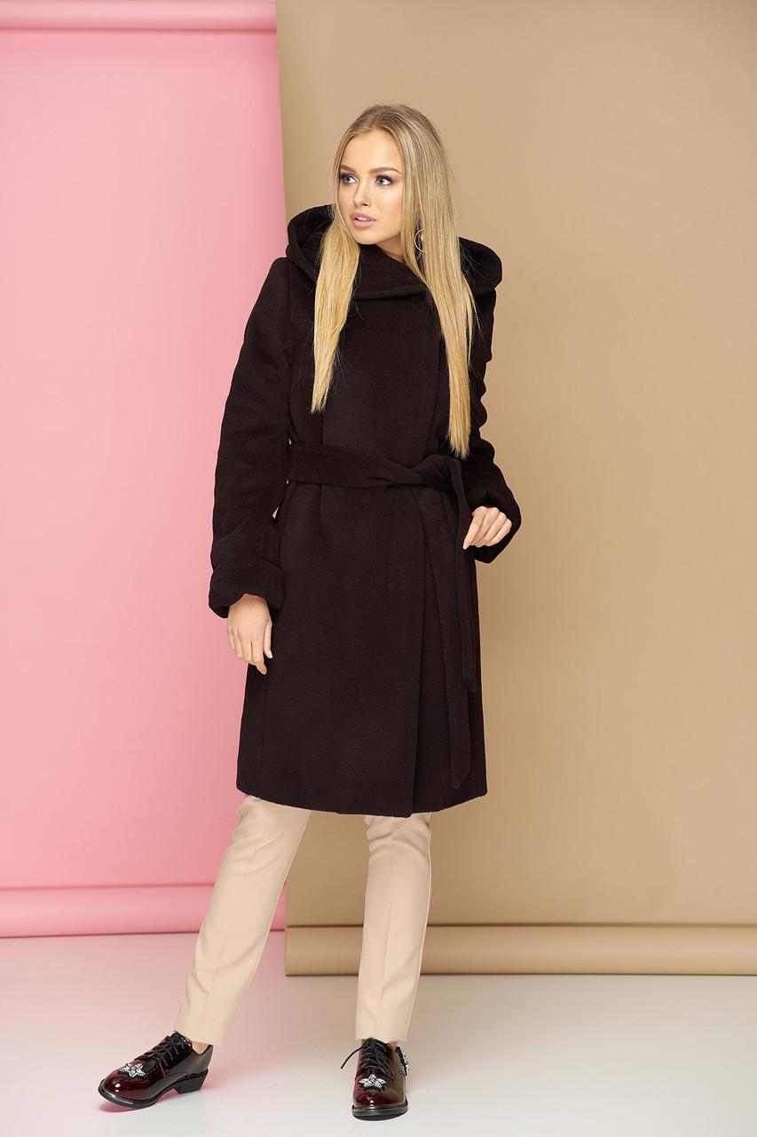 Бордовое шерстяное пальто с капюшоном демисезонное