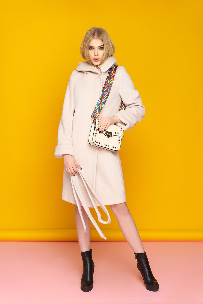 Женское шерстяное пальто с капюшоном демисезонное