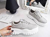 Стильные кроссовки на шнуровке 36-41 р серый, фото 1