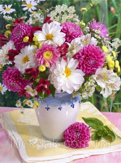 Алмазная вышивка, ваза с летними цветами 30х40 см, частичная выкладка