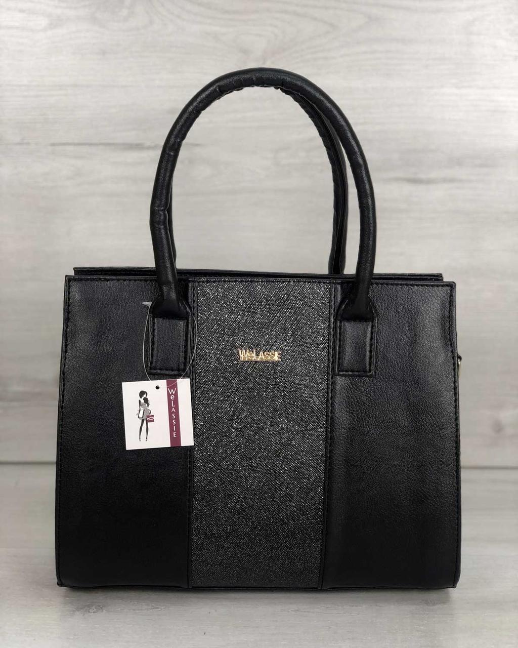 9791e1feaa88 Каркасная женская сумка Селин черного цвета со вставкой блеск ...