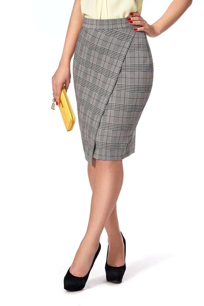 Зауженная женская юбка на запах №223 (клетка)