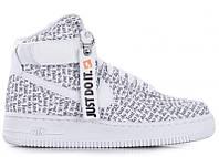 Кроссовки мужские кожаные высокие Nike Air Force White Just Do It High