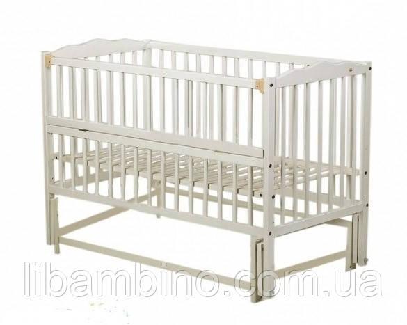 Дитяче ліжечко Веселка шарнір/підшипник відкидний бортик білий